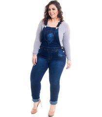 jardineira longa macacão jeans lavanda e alecrim plus size