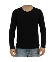 camiseta pau a pique manga longa básica preto