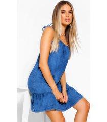 chambray jurk met schouderstrikjes en geplooide zoom, middenblauw