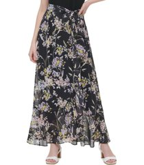 calvin klein floral-print tie-front maxi skirt