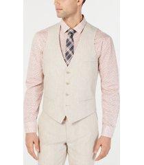 bar iii men's slim-fit linen tan suit vest, created for macy's