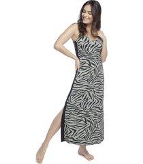 camisola regata longuete zebra lounge - preto/verde/zebra - feminino - viscose - dafiti