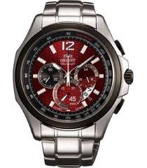 reloj orient fsy00001h cronografo 100% original-rojo