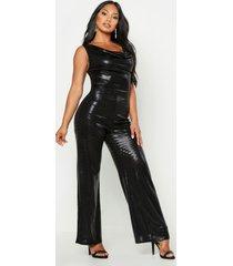 metallic cowl neck wide leg jumpsuit, black