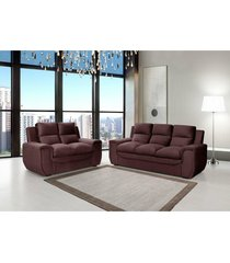 conjunto de sofá benetton 3 e 2 lugares tecido suede liso velut liso café - hellen