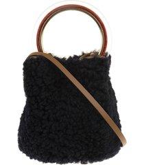 black lamb fur pannier fur bucket bag