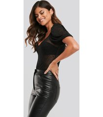 na-kd party dotted mesh body - black
