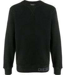 diesel waffle-knit sweatshirt - black