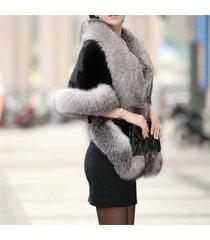 elegant womens faux mink fur shawl shrug gray weddings wrap cape evening coat