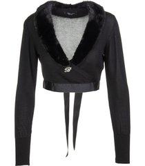 blumarine black crossed cropped cardigan with mink collar