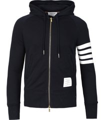 classic 4-bar full zip hoodie navy blue