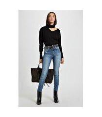 calça basic skinny high barra desfiada jeans - 38
