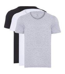 kit t-shirt masculina pima berlim gola v - cinza