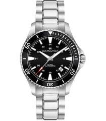hamilton khaki automatic bracelet watch, 40mm in silver/black/silver at nordstrom