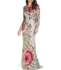 women's mac duggal long sleeve sequin column gown, size 14 - grey