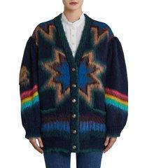 etro nashville oversize jacquard cardigan, size 12 us in blue multicolor at nordstrom