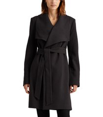 women's lauren ralph lauren belted drape front coat, size medium - grey