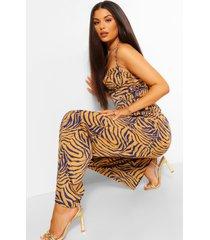 lange broek met wijde pijpen en hoge taille, geelbruin