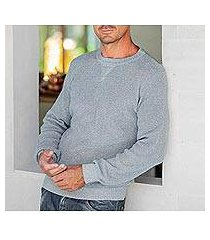 men's recycled cotton sweater, 'sporting elegance in blue' (guatemala)