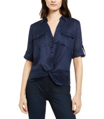 inc linen twisted utility shirt, created for macy's