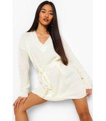petite trui jurk met ceintuur en v-hals, ivoor