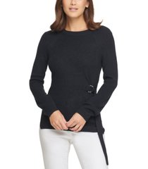 dkny tie-side crewneck sweater