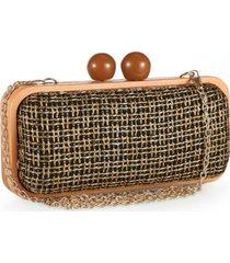 bolsa clutch poquet marrom estrutura em madeira