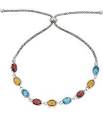 multi-gemstone bolo bracelet (4-1/5 ct. t.w.) in sterling silver