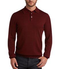 joseph abboud burgundy polo collar merino wool sweater