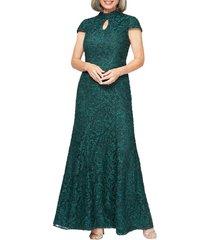 women's alex evenings mock neck beaded lace trumpet gown