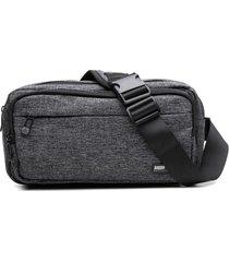 pochete masculina com fechamento e bolsos em zíper cinza