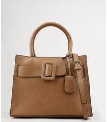 bolsa feminina tote média com fivela e alça transversal removível caramelo
