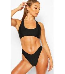 hoog uitgesneden bikini met sluiting aan de achterkant, zwart