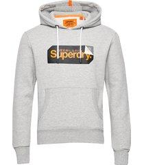 core logo tag hood hoodie trui grijs superdry