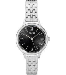 orologio solo tempo con cassa e cinturino in acciaio, quadrante nero per donna