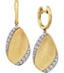 effy diamond leaf drop earrings (3/8 ct. t.w.) in 14k gold