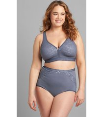 lane bryant women's cotton high-waist brief panty with lace trim 34/36 grisaille