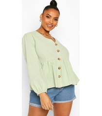 plus blouson sleeve peplum top, sage