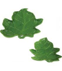 conjunto de pratos em cerâmica folha 2 peças - tricae