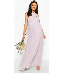 maternity wrap detail maxi occasion dress, light grey