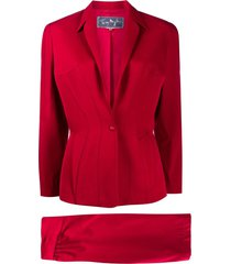 thierry mugler pre-owned slim-fit skirt suit - red