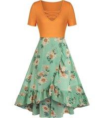floral print criss cross overlap dress