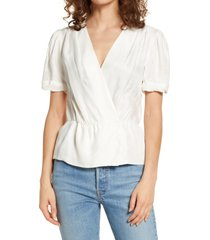 paige felicity peplum top, size x-small in eggshell at nordstrom