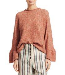 alpaca & wool blend ruffle cuff sweater