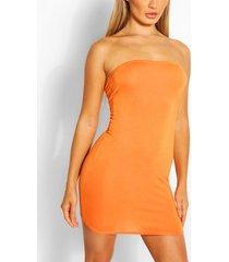 bandeau jersey bodycon dress, orange