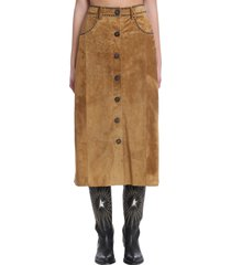 golden goose christine skirt in leather color suede