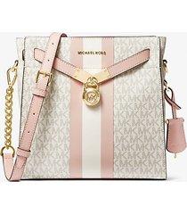 mk borsa messenger nouveau hamilton grande con logo - vanilla/soft pink - michael kors