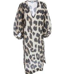 ganni silk linen dress 3/4s crew neck animalier