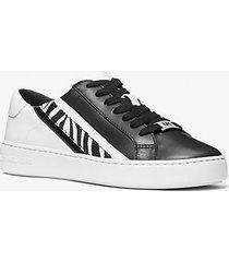 mk sneaker slade in pelle bicolore a righe e pelle effetto cavallino stampa zebrata - nero/bianco (nero) - michael kors