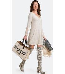 breena lace sleeve dress - heather oat
